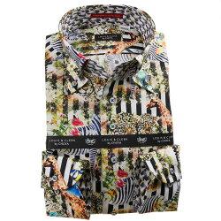 国産長袖綿100%ドレスシャツ ボタンダウン コンフォート プリント ブロックストライプ 動物 アニマル 1912