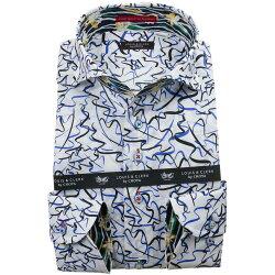 国産長袖綿100%ドレスシャツ コンフォート カッタウェイワイド ホワイト フリーハンド風デザイン ブラック チャイナブルー 1912