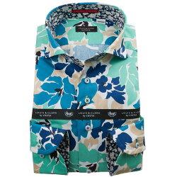 国産長袖綿100%ドレスシャツ コンフォート カッタウェイワイド デザインハイビスカスプリント エメラルドグリーン ブルー ベージュ 1912