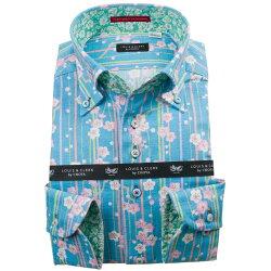 国産長袖綿100%ドレスシャツ コンフォート ボタンダウン ドビー織 プリント柄 水色 竹 梅 1912