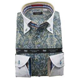 国産長袖綿100%ドレスシャツ コンフォート クレリックボタンダウン ダマスクペイズリー総柄プリント 1912