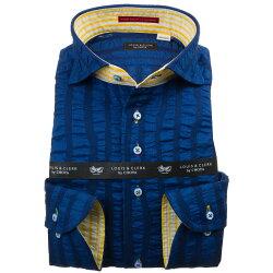 100%国産長袖ドレスシャツ カッタウェイワイドカラー  綿100% シアサッカーストライプ ダークブルー 1912