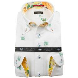 国産長袖綿100%ドレスシャツ ボタンダウン コンフォート 着丈短め ホワイトオックスフォード カットジャガード やしの木 1912