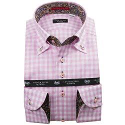 国産長袖綿100%ドレスシャツ ボタンダウン コンフォート 着丈短め ピンクパープル ギンガムチェック 1912