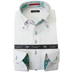国産長袖綿100%ドレスシャツ コンフォート ボタンダウン ホワイト ジャガード織 キューブ 六芒星 幾何柄 2001