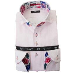 国産長袖綿100%ドレスシャツ  コンフォート カッタウェイワイド ライトピンク ジャガード織柄 花と蝶縞柄 2001