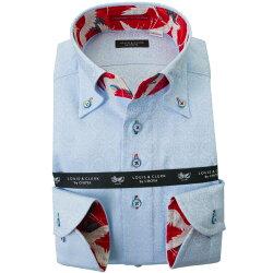 国産長袖綿100%ドレスシャツ コンフォート ボタンダウン スカイブルー ジャガード織 オリエンタルフラワーパターン 2001
