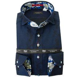 国産長袖綿100%ドレスシャツ  コンフォート カッタウェイワイド ダークネイビー ジャガード織柄 花と蝶縞柄 2001