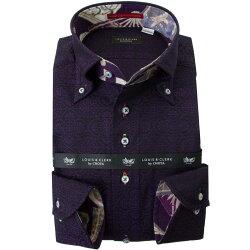 国産長袖綿100%ドレスシャツ コンフォート ボタンダウン ダークパープル ジャガード織 オリエンタルフラワーパターン 2001
