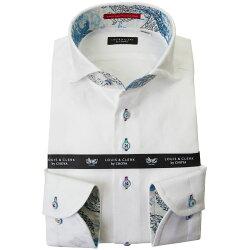 国産長袖綿100%ドレスシャツ  コンフォート カッタウェイワイド ホワイト ジャガード織柄 家紋 花菱 2001