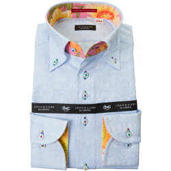 国産長袖綿100%ドレスシャツ コンフォート ボタンダウン スカイブルー ジャガードサンフラワー 2001