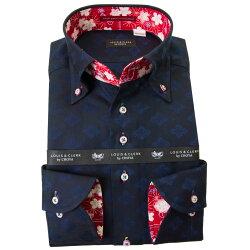 国産長袖綿100%ドレスシャツ  コンフォート ボタンダウン ダークネイビー ジャガード織柄 家紋 花菱 2001