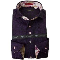 国産長袖綿100%ドレスシャツ コンフォート カッタウェイワイドカラー ダークパープル ジャガードサンフラワー 2001