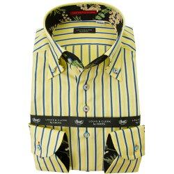 国産長袖綿100%ドレスシャツ  コンフォート ボタンダウン オルタネイトストライプ イエロー ネイビー 2001