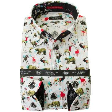 ドレスシャツ ワイシャツ シャツ メンズ 国産 長袖 綿100% コンフォート ボタンダウン プリント クマ トナカイ バンビ 松ぼっくり ドット 2001