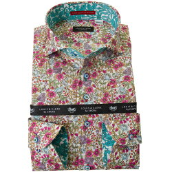 国産長袖綿100%ドレスシャツ  コンフォート カッタウェイワイド 総柄プリント フラワー ホワイト パープル ライラック 2001