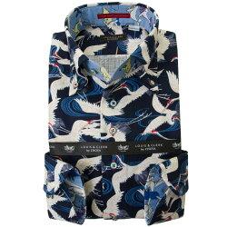 国産長袖綿100%ドレスシャツ  コンフォート ボタンダウン 綿紅梅 和柄 鶴 流水文 葉 紺 2001