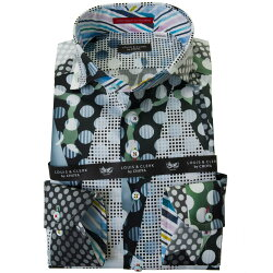 国産長袖綿100%ドレスシャツ  コンフォート カッタウェイワイド 総柄プリント 幾何柄 ドット チェック カモフラ 2001