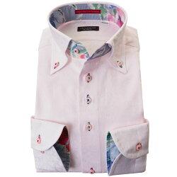 国産長袖綿100%ドレスシャツ コンフォート ボタンダウン ライトピンク ジャガード織 花柄 花壇 フラワーガーデン 胸ポケット無