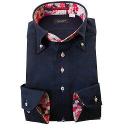 国産長袖綿100%ドレスシャツ コンフォート ボタンダウン 濃紺 ジャガード織 花菱 菱形文様 和柄 胸ポケット無