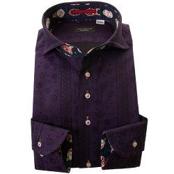 国産長袖綿100%ドレスシャツ 胸ポケット無 コンフォート カッタウェイワイドカラー 濃紫 ジャガード織 デザインストライプ 花柄