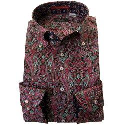 国産長袖ドレスシャツ コンフォート 着丈短め 胸ポケット無 ボタンダウン ダマスクペイズリー総柄プリント ブラック ワインレッド