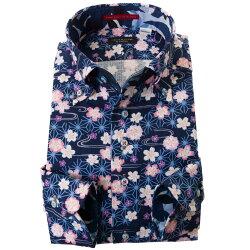 国産長袖綿100%ドレスシャツ 胸ポケット無 着丈短め コンフォート ボタンダウン ドビー織 プリント柄 和柄 和風 藍色 インディゴブルー