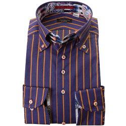 国産長袖ドレスシャツ ボタンダウン コンフォート 胸ポケット無 着丈短め ストライプ柄プリント オレンジ パープル
