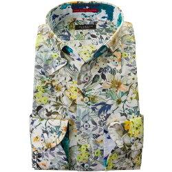 国産長袖ドレスシャツコンフォート 着丈短め 胸ポケット無 ボタンダウン ボタニカルプリント フラワー イエロー グレーグリーン