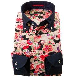 国産長袖ドレスシャツ ボタンダウン ちりめん 胸ポケット無 着丈短め 和柄生地プリント 着物 濃色生地クレリック