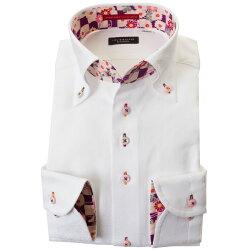 国産長袖綿100%ドレスシャツ 胸ポケット無 コンフォート ボタンダウン ホワイト ジャガード織柄 七宝繋ぎ 七宝文様 毬