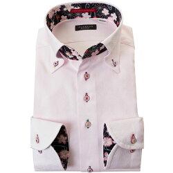国産長袖綿100%ドレスシャツ 胸ポケット無 コンフォート ボタンダウン ライトピンク ジャガード織柄 七宝繋ぎ 七宝文様 毬