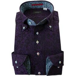国産長袖綿100%ドレスシャツ コンフォート ボタンダウン ダークパープル 濃紫 ジャガード織 花柄 花壇 フラワーガーデン 胸ポケット無