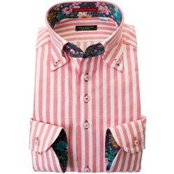国産長袖綿100%ドレスシャツ 胸ポケット無 コンフォート ボタンダウン ブロックストライプ オレンジピンク ホワイトメッシュ織