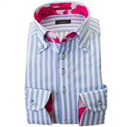 国産長袖綿100%ドレスシャツ 胸ポケット無 コンフォート ボタンダウン ブロックストライプ スカイブルー ホワイトメッシュ織
