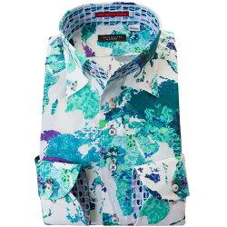 国産長袖綿ドレスシャツ コンフォート ボタンダウン 着丈短め プリント 迷彩柄風世界地図柄 ワールドマップ ブルー グリーン