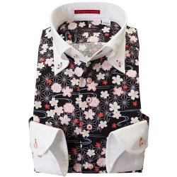 国産長袖綿100%ドレスシャツ 胸ポケット無 着丈短め コンフォート クレリックボタンダウン ドビー織 プリント柄 和柄 和風