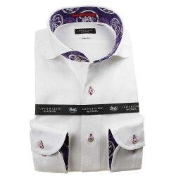 国産長袖綿100%ドレスシャツ カッタウェイワイドカラー スリムフィット ホワイト ジャガード織柄 家紋 ファミリークレスト 1912