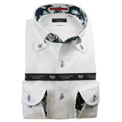 国産長袖綿100%ドレスシャツ ボタンダウン スリムフィット ホワイト ジャガード織柄 迷彩柄風 日本地図 マップ 1912