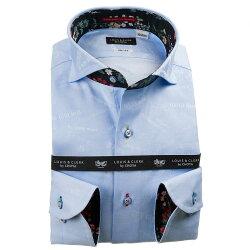 国産長袖綿100%ドレスシャツ カッタウェイワイドカラー スリムフィット スカイブルー ジャガード織柄 メッセージ 謝罪 1912