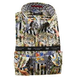 国産長袖綿100%ドレスシャツ ボタンダウン スリムフィット プリント ブロックストライプ 動物 アニマル 1912