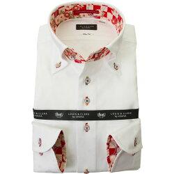 国産長袖綿100%ドレスシャツ  スリムフィット ボタンダウン ホワイト ジャガード織柄 家紋 花菱 2001