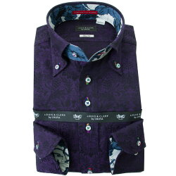 国産長袖綿100%ドレスシャツ スリムフィット ボタンダウン ダークパープル ジャガードサンフラワー 2001