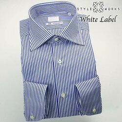 国産オリジナル長袖ドレスシャツ ワイドカラー ブルーロンドンストライプ イタリア製トーマスメイソン生地