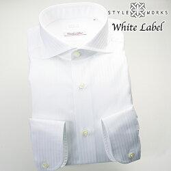 国産オリジナル長袖ドレスシャツ カッタウェイワイドカラー ホワイトドビーロンドンストライプ イタリア製ALBINI生地