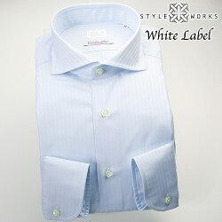 国産オリジナル長袖ドレスシャツ カッタウェイワイドカラー ファジーブルードビーロンドンストライプ イタリア製ALBINI生地