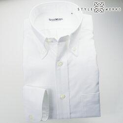 国産オリジナル長袖ドレスシャツ ボタンダウンカラー ホワイトオックスフォード アメリカン・トラッド