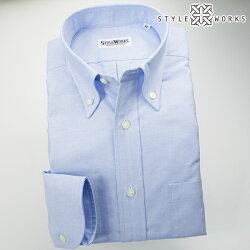 国産オリジナル長袖ドレスシャツ ボタンダウンカラー サックスブルーシャンブレーオックスフォード アメリカン・トラッド