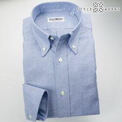国産オリジナル長袖ドレスシャツ ボタンダウンカラー ネイビーブルーシャンブレーオックスフォード アメリカン・トラッド