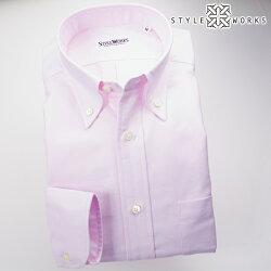 国産オリジナル長袖ドレスシャツ ボタンダウンカラー ピンクシャンブレーオックスフォード アメリカン・トラッド